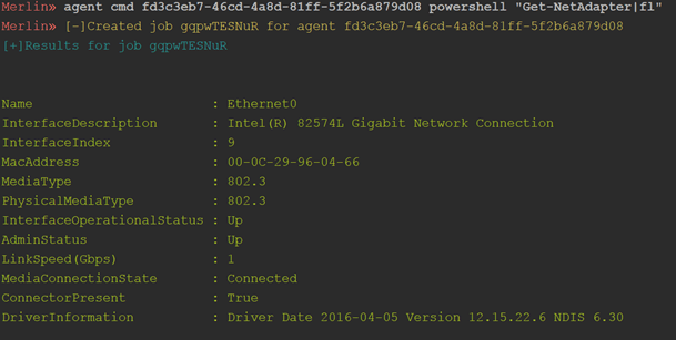 Merlin Cross Platform Post Exploitation Tool With HTTP2 Communications Command and Control Server Agent merlin agent windows powersehell command