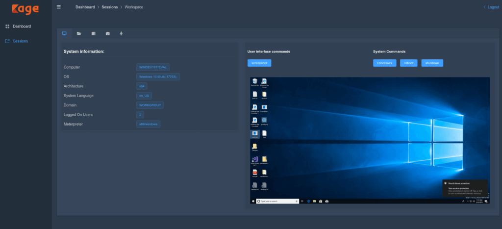 kage control panel graphical user interface for metasploit framework xploitlab