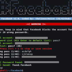 Facebash Tool to brute force facebook using tor