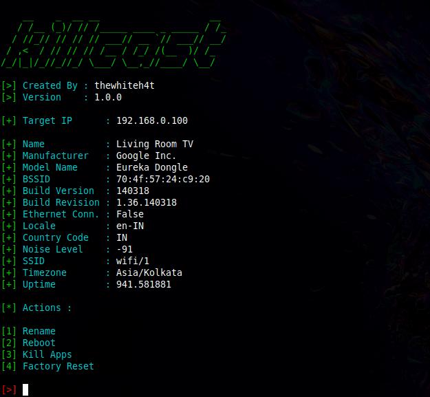 Killcast - Hijack Chromecast Devices in your Network xploitlab