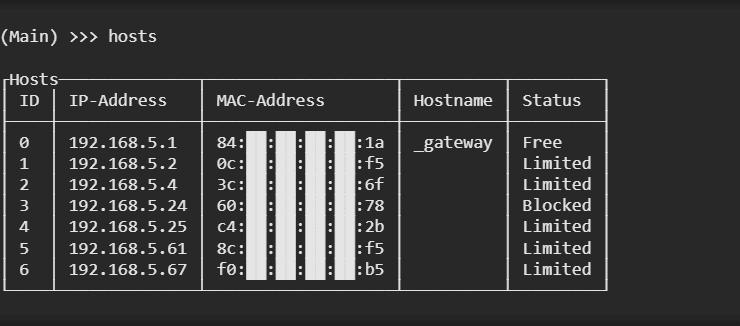 Evillimiter show block hosts xploitlab