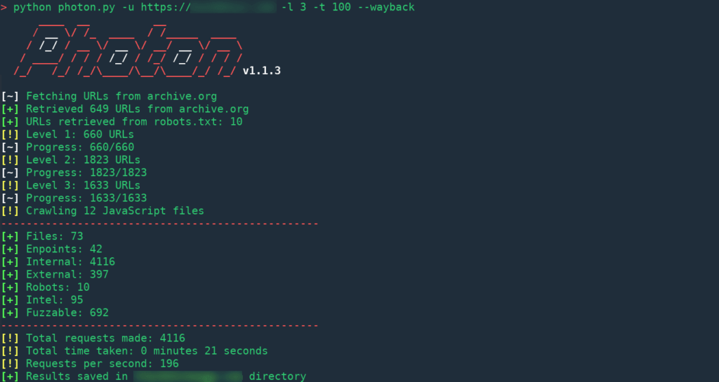 Photon - OSINT Tools To Extracts URLs, Social Media Accounts, Emails And More