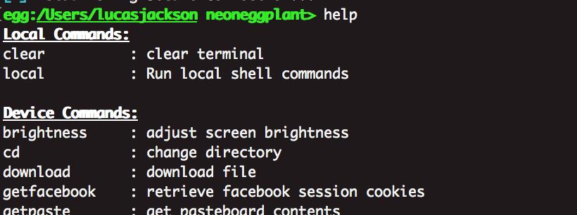 eggshell - help command