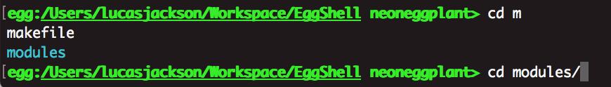 eggshell - tab completion hack iOS macOS