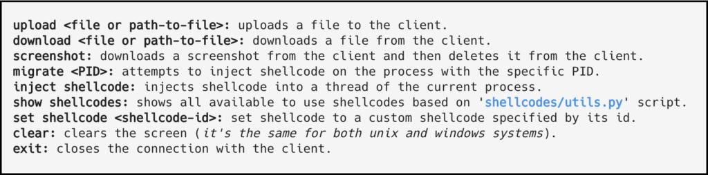 HRShell all command xploitlab