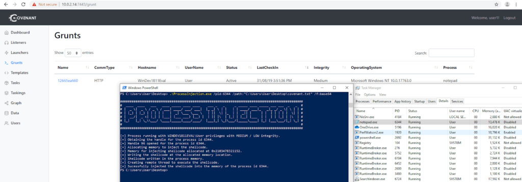 ProcessInjection Covenant Grunt - Tool To Inject Shellcode in a Target Process xploitlab