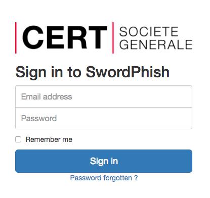 Swordphish Login Page - platform to create and manage fake phishing campaign