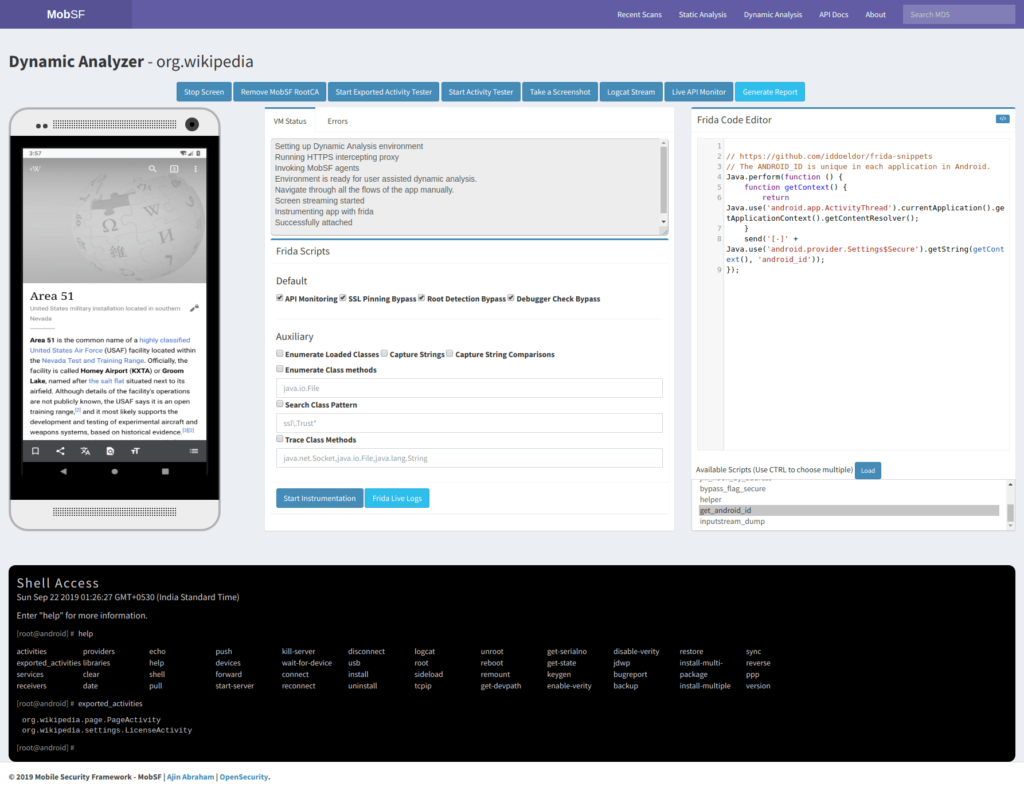 Mobile Security Framework (MobSF) Dynamic Analysis - Android APK xploitlab