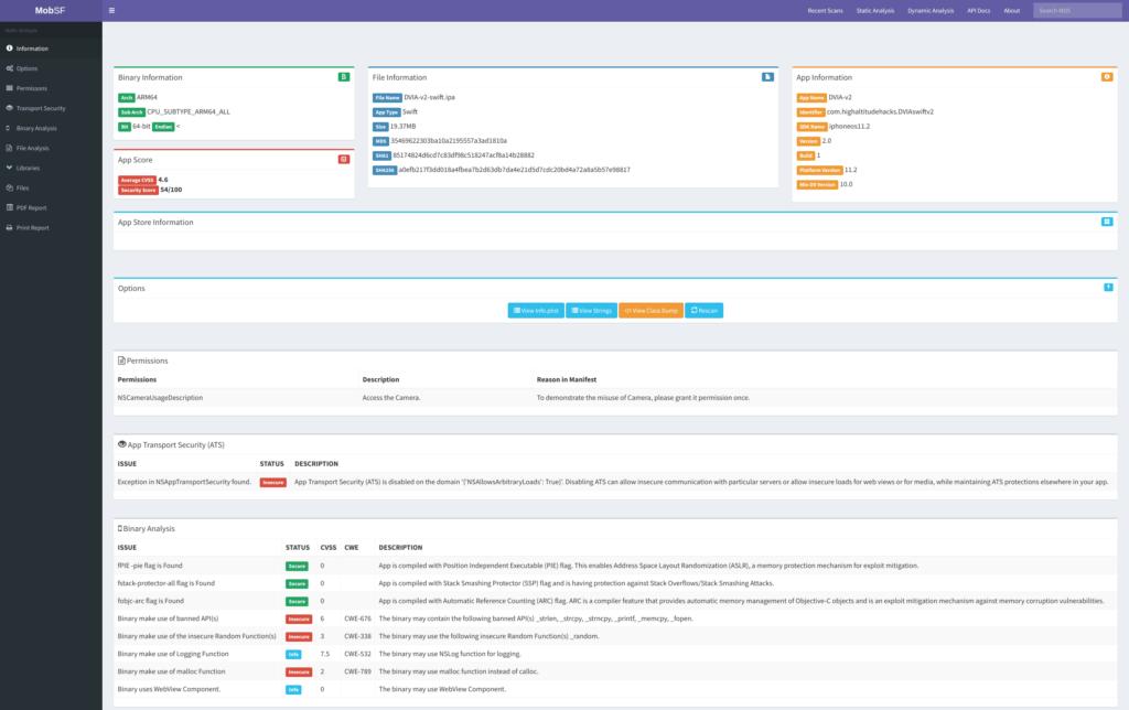 Mobile Security Framework (MobSF) Static Analysis - iOS IPA xploitlab