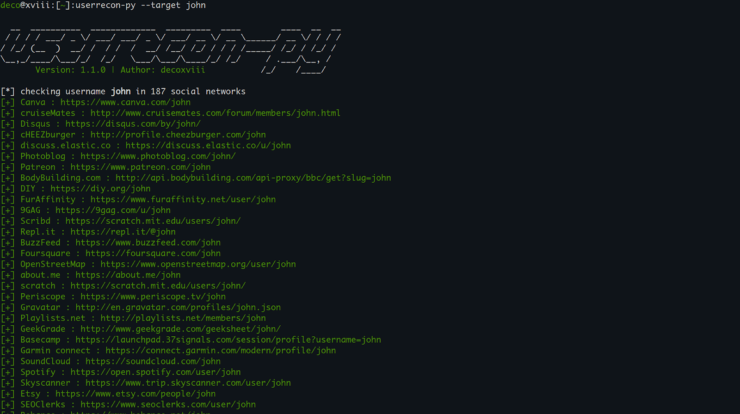 Userrecon-py - Username Recognition on Various Websites and Social Networks xploitlab