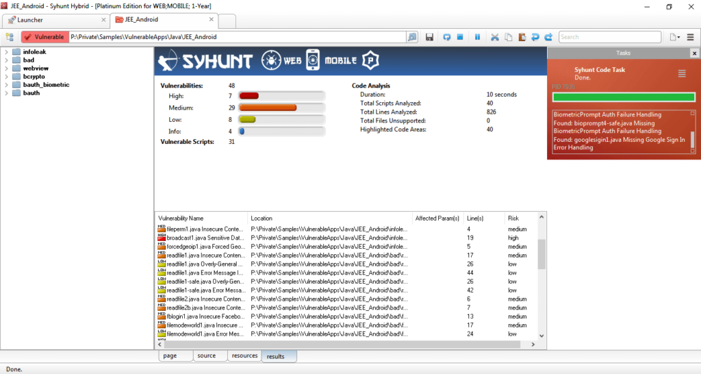 syhunt scan vulnerability on mobile devices