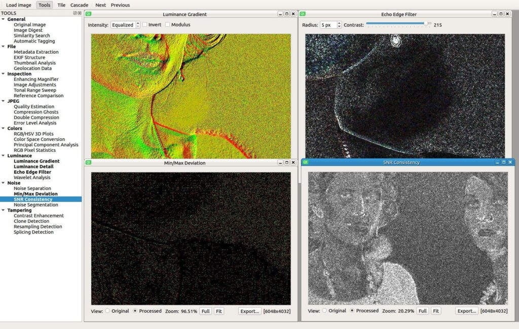 Sherloq - tool for digital image forensic Luminance and Noise Analysis