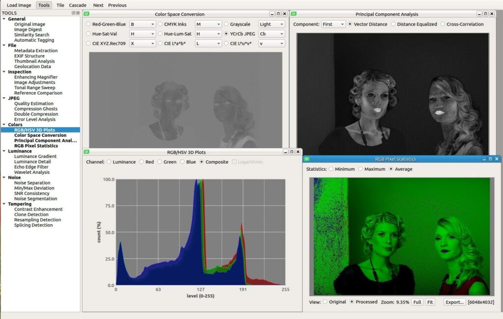 Sherloq - tool for digital image forensic, photo color analysis