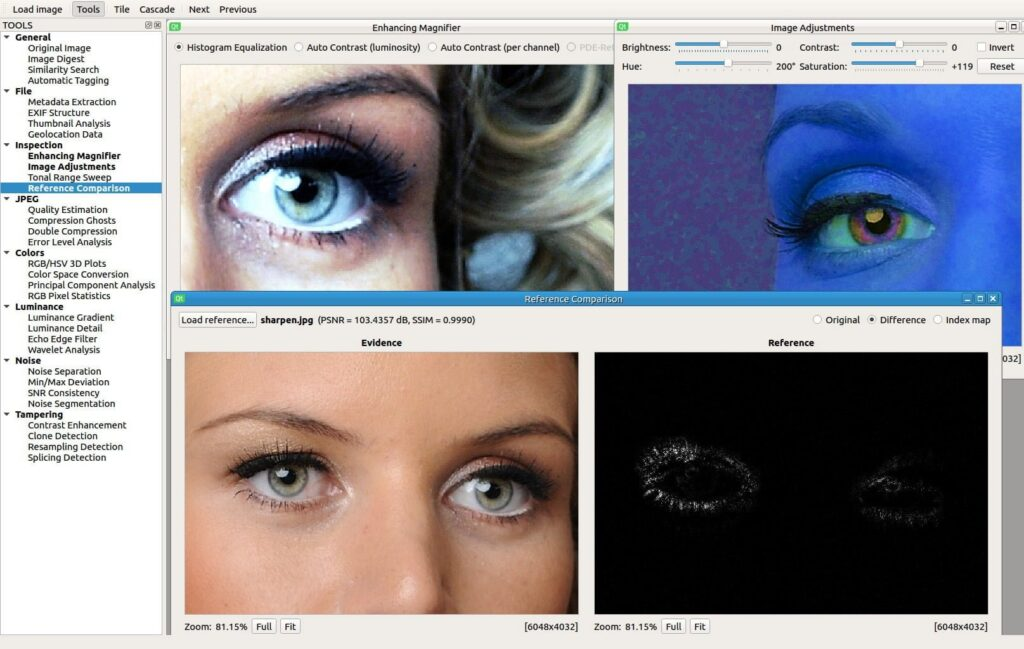 Sherloq - tool for digital image forensic, visual inspection for photo