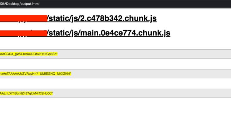 SecretFinder Output - Python Script Written to Discover Sensitive Data (apikeys, accesstoken, authorizations, jwt,..etc)