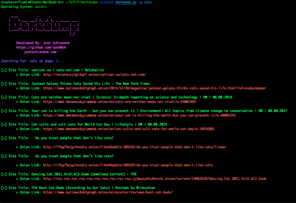 Darkdump - Search The Deep Web Straight From Your Terminal Dark web search engine