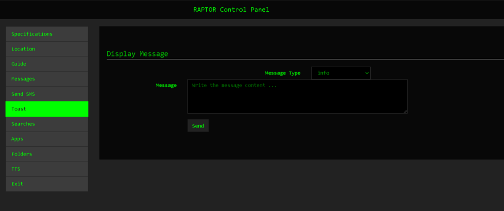 RafelRat Send Message to Victim Android - Tool to Remote Android With WebPanel For Controlling Victims