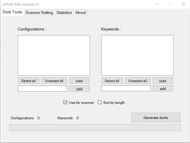 APSoft Web Scanner v2 Dork Tool For Windows - Powerful Dork Searcher and Vulnerability Scanner for Windows Platform