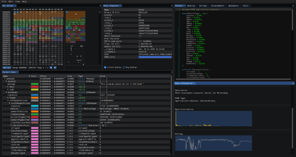 ImHex - Hex Editor Graphical User Interface for Hackers, Reverse Engineers and Programmers
