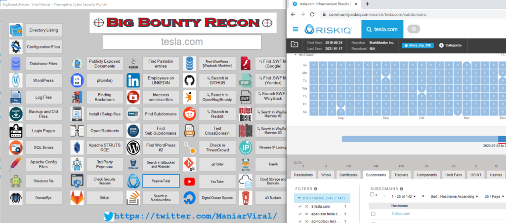 BigBountyRecon - Hacking Tool With 58 Different Techniques to Looking for subdomains and other secret file on the target organisation