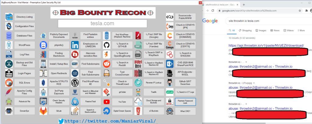 BigBountyRecon - Hacking Tool With 58 Different Techniques to Search for plaintext passwords for a target organisation