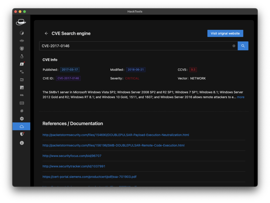 HackTools - Vulnerabilities Search Engine Extension for Hacking xploitlab