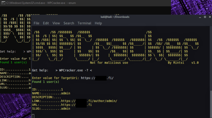 wpcracker - wordpress pentest tool to perform user enumeration and brute force the login panel