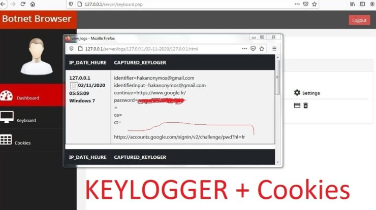 Botnet Browser - Javascript Keylogger Tool to Capture Credit Card Credential, and get paypal password